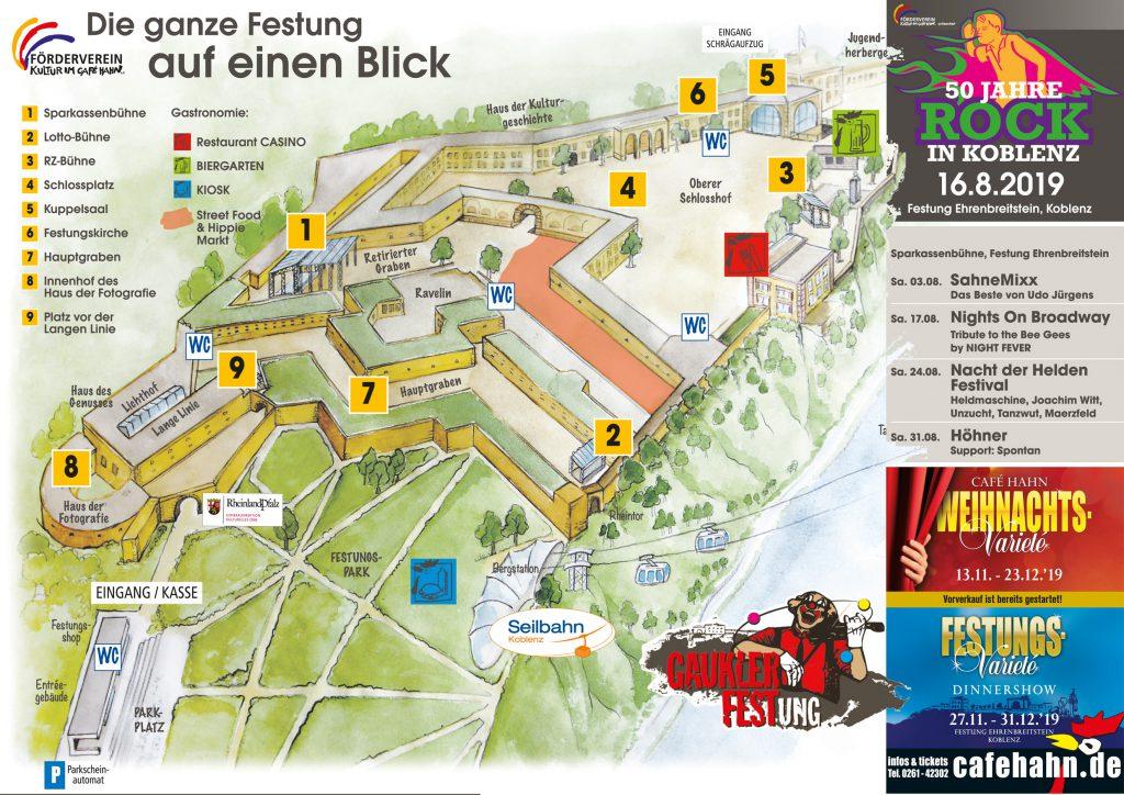 Übersicht der Bühnen und Plätze auf der Festung Ehrenbreitstein